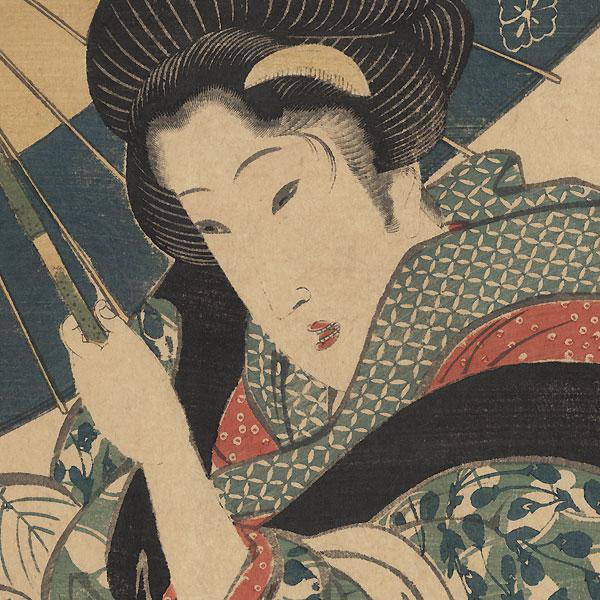 Geisha Returning from a Bathhouse Kakemono, circa 1810 - 1820 by Eizan (1787 - 1867)