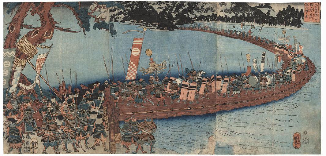 Kusunoki Masatsura Defeats the Great Army of the Ashikaga by Cutting the Pontoon Bridge on the Nagara River, circa 1843 by Kuniyoshi (1797 - 1861)