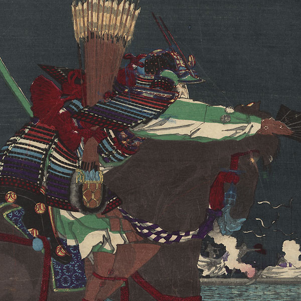 The Battle of Ichi-no-tani, 1884 by Toyonobu (1859 - 1886)