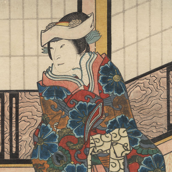 Beauty and Man Carrying a Robe by Kunikazu (active circa 1849 - 1867)