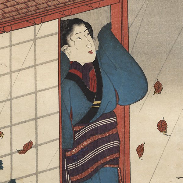 Beauty Watching Leaves in Rain by Kuniyoshi (1797 - 1861)
