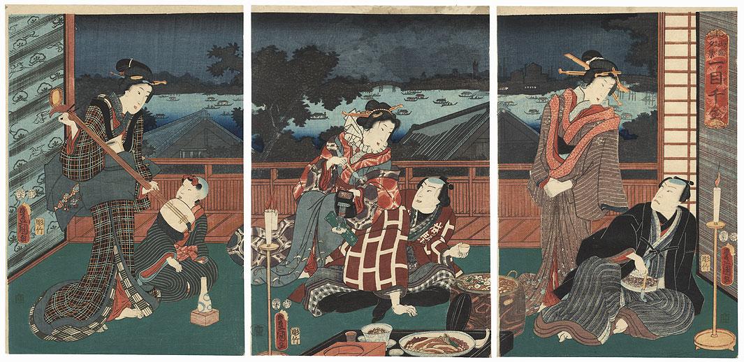 Priceless Evening View at Ryogoku, 1855 by Toyokuni III/Kunisada (1786 - 1864)