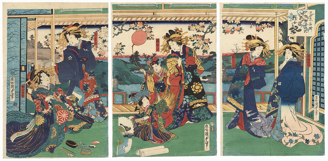 Courtesans Enjoying Cherry Blossoms at the Banka-ro in the Foreign Quarter, a Famous Place in Tokyo, 1869 by Kunisada II (1823 - 1880)