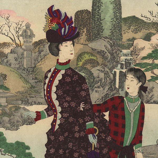 Beauties Enjoying a Spring Garden, 1889 by Chikanobu (1838 - 1912)