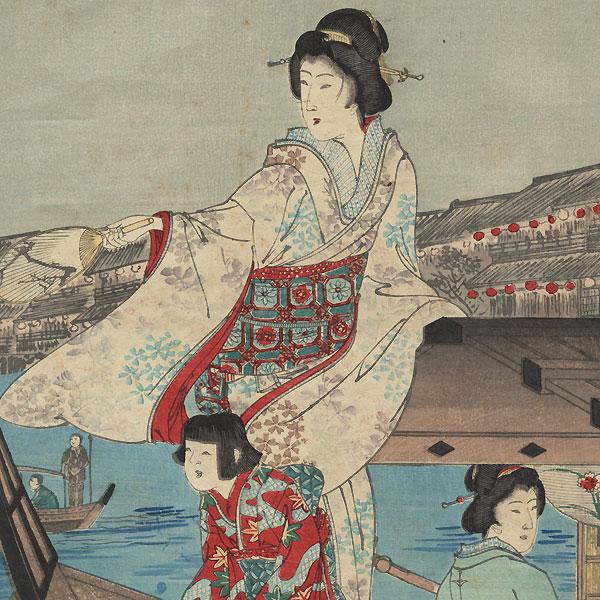 Fireworks at Ryogoku by Nobukazu (1874 - 1944)