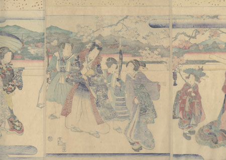 Prince Genji on a Cherry Blossom Viewing Outing, 1869 by Kunisada II (1823 - 1880)
