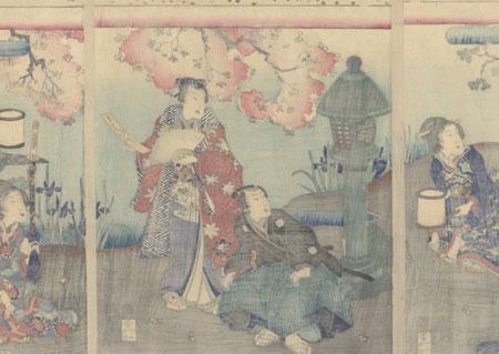 Hana Chiru Sato (Village of the Falling Flowers), Chapter 11, 1869 by Kunisada II (1823 - 1880)