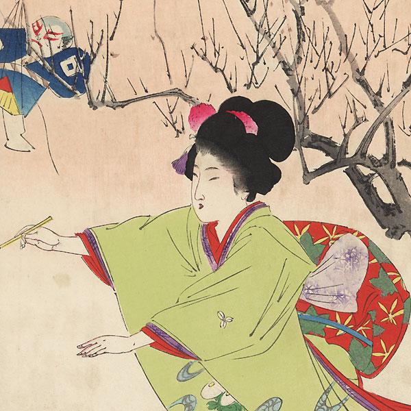 January: The Shuttlecock by Miyagawa Shuntei (1873 - 1914)