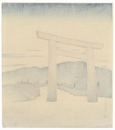 The Ise Jingu Shrine at Mie in Winter by Tokuriki Tomikichiro (1902 - 1999)