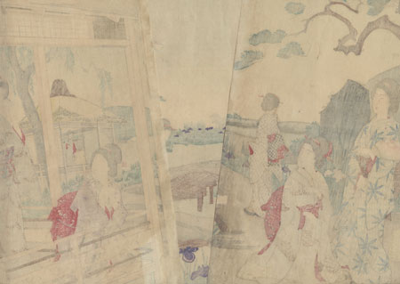 Spring: Women in an Iris Garden by Chikanobu (1838 - 1912)