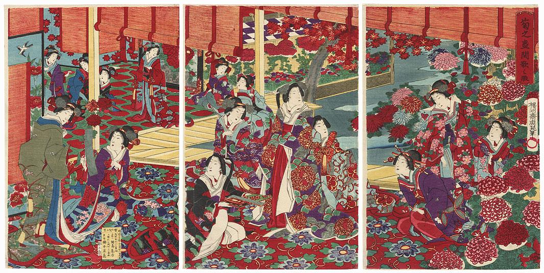 Beauties Writing Poem Slips, 1878 by Chikanobu (1838 - 1912)