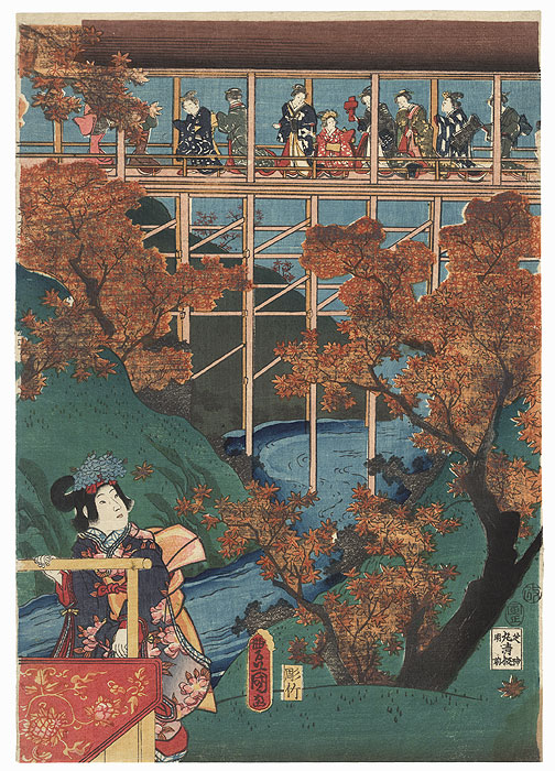 Maple Viewing, 1854 by Toyokuni III/Kunisada (1786 - 1864)