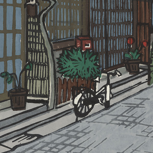 Street with Bicycle by Contemporary artist (not read)