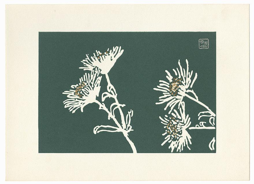 White Chrysanthemums with Green Background by Tanaka Kichinosuke (1897 - ?)
