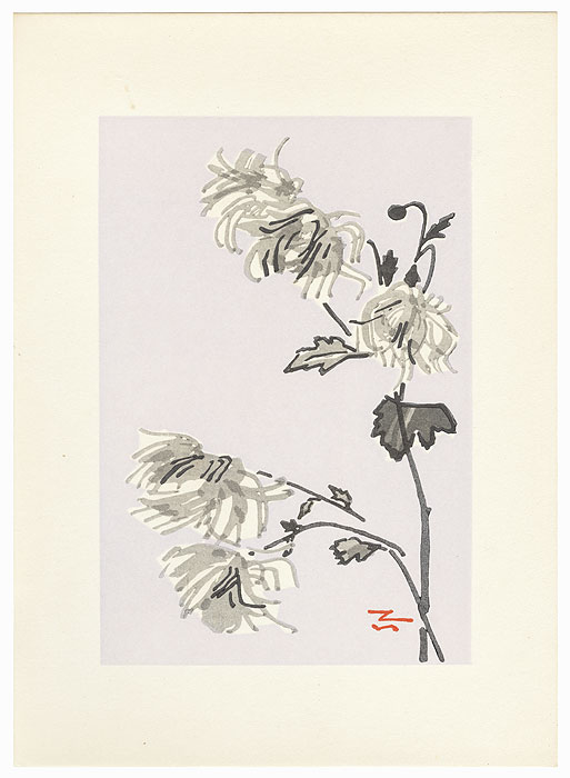 Chrysanthemums with Lavender Background by Tanaka Kichinosuke (1897 - ?)