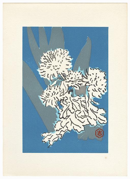 Chrysanthemums and Leaves with Blue Background by Tanaka Kichinosuke (1897 - ?)