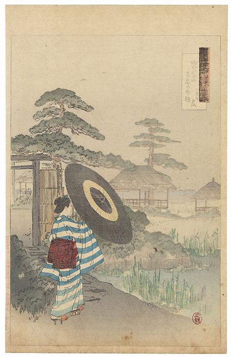 Beauty in an Iris Garden by Gekko (1859 - 1920)