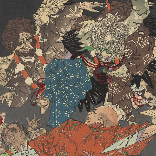 Sagaminokami Hojo Takatoki Fighting Tengu, 1883 by Yoshitoshi (1839 - 1892)