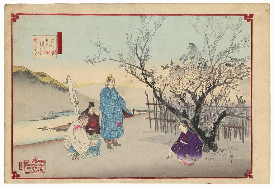 February: The Plum Tree of the Bush Warbler's Nest by Gekko (1859 - 1920)