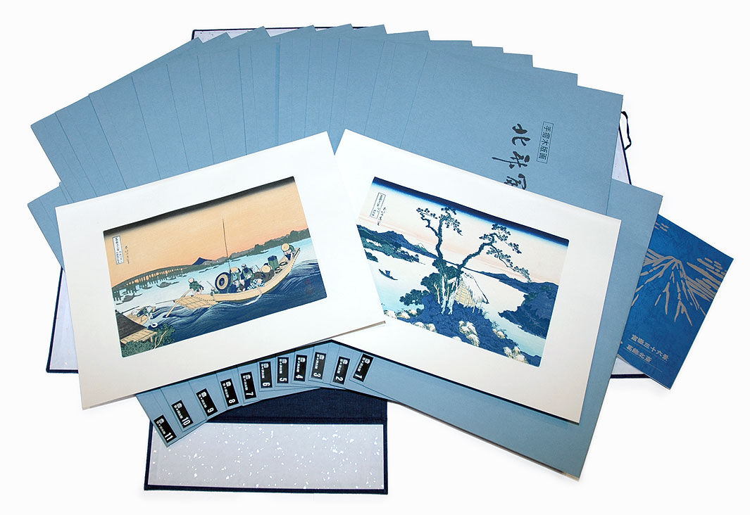 Complete Thirty-six Views of Fuji Boxed Set with 46 Woodblock Reprints by Hokusai (1760 - 1849)