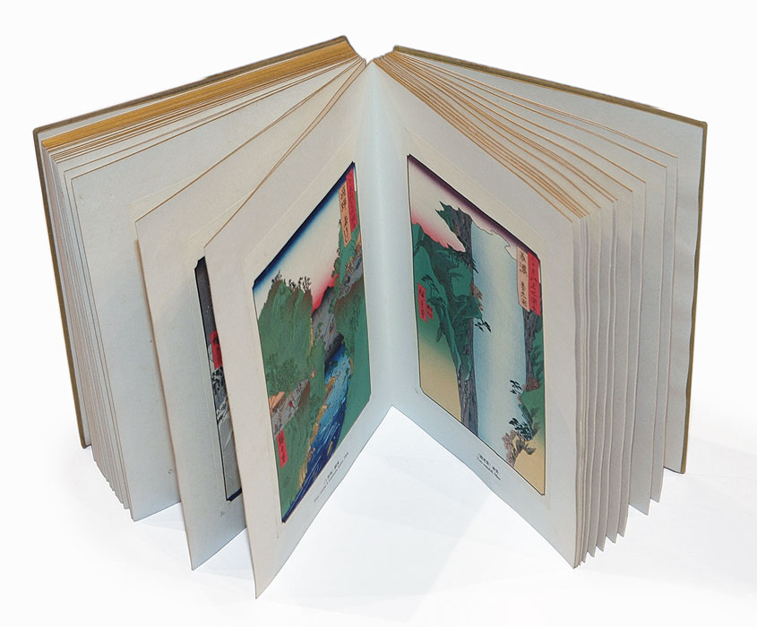 Complete Sixty-odd Provinces Set, Bound Volume with 70 Woodblock Reprints by Hiroshige (1797 - 1858)