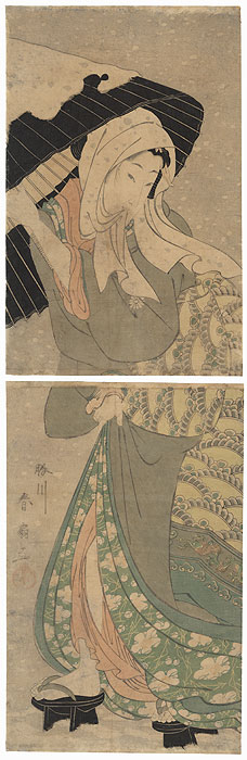 Beauty in the Snow Kakemono by Shunsen (1762 - circa 1830)