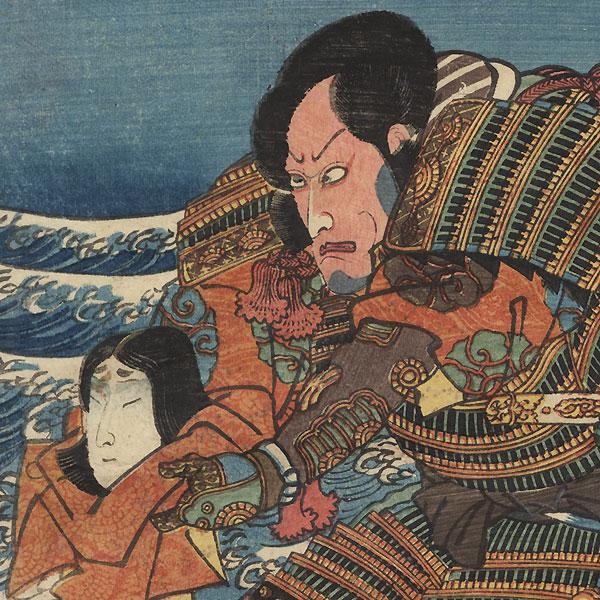 Kumagai Jiro Naozane Presenting the Head of Atsumori, 1847 - 1852 by Kuniyoshi (1797 - 1861)