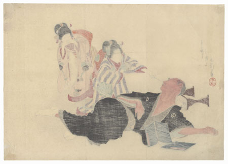 Girls Teasing a Sleeping Man Kuchi-e Print by Tomioka Eisen (1864 - 1905)