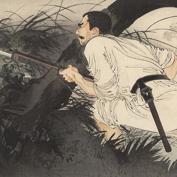 Tanaka Ishimatsu Sneaking up on the Enemy, 1895 by Toshikata (1866 - 1908)