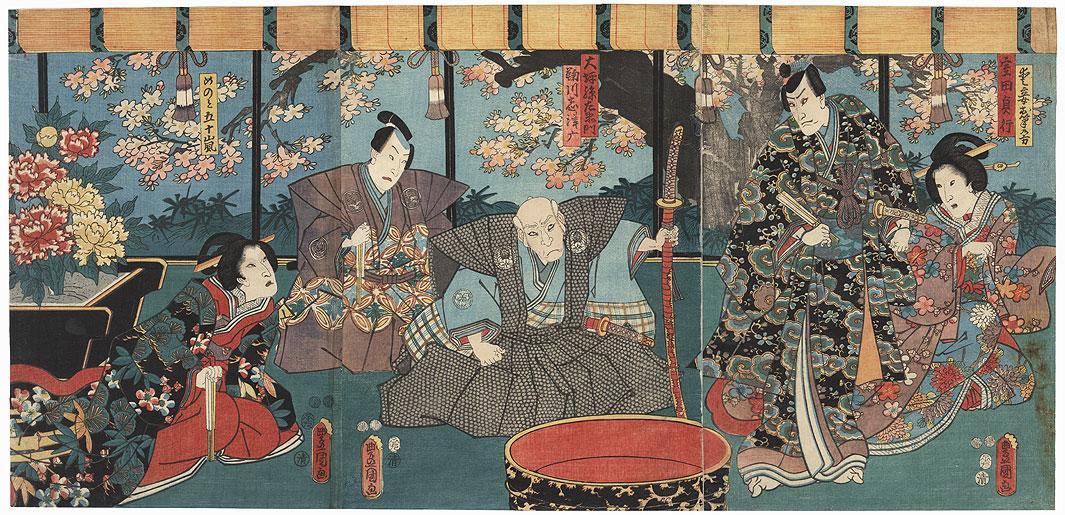 Angry Elder and Samurai, 1852 by Toyokuni III/Kunisada (1786 - 1864)