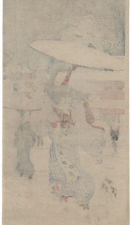 Beauty Strolling through the Snow by Nobukazu (1874 - 1944)