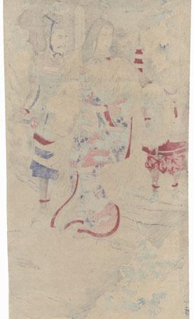 Shizuka Gozen Saying Goodbye to Her Sweetheart, Minamoto no Yoshitsune by Nobukazu (1874 - 1944)