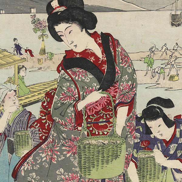 Gathering Shellfish by Nobukazu (1874 - 1944)