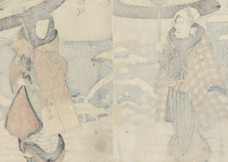 Couple Walking in the Snow by Toyokuni I (1769 - 1825)