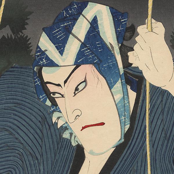 Onoe Kikugoro V as Tomizo the Vagrant and Ichikawa Kyuso as Fujioka Tojuro, 1893 by Kunichika (1835 - 1900)