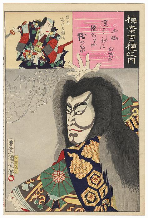 Onoe Kikugoro V as the Spirit of the Earth Spider (Tsuchigumo) and Ichikawa Sadanji I as Yasumasa, 1894 by Kunichika (1835 - 1900)