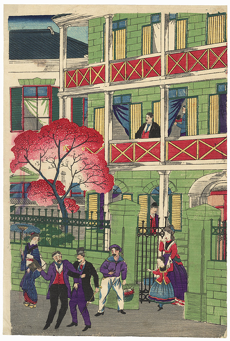 Foreigner's Residence by Meiji era artist (unsigned)
