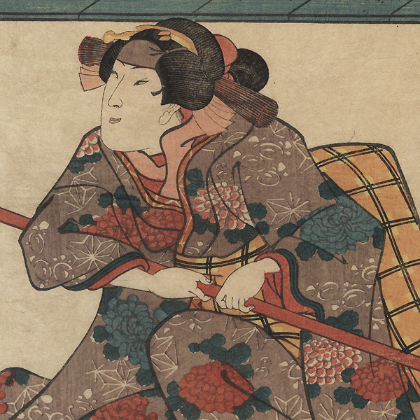 Beauty Gripping a Pole by Kuniyoshi (1797 - 1861)