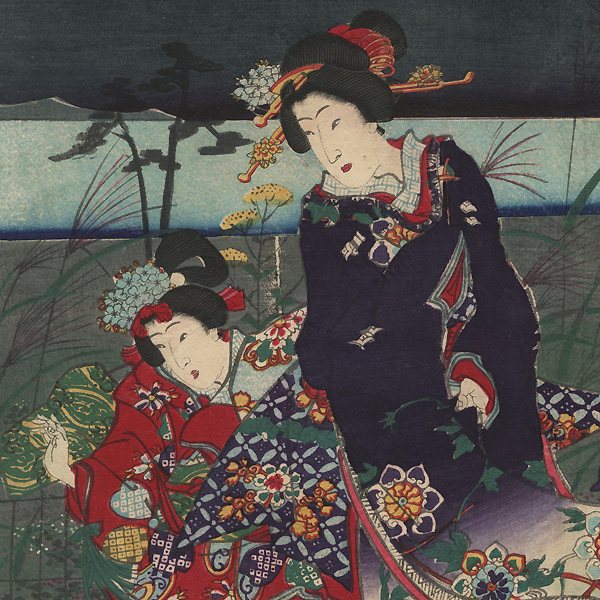 Prince Genji in an Autumn Garden, 1869 by Kunichika (1835 - 1900) and Hiroshige III (1843 - 1894)