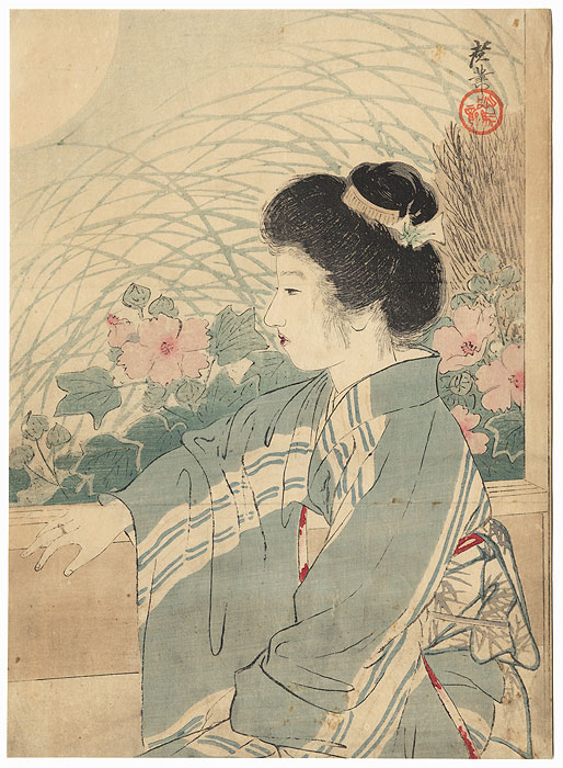Full Moon Night Kuchi-e Print, 1909 by Terazaki Kogyo (1866 - 1919)