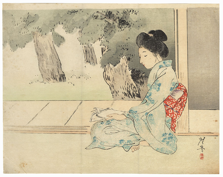 Beauty Reading Kuchi-e Print, 1902 by Terazaki Kogyo (1866 - 1919)