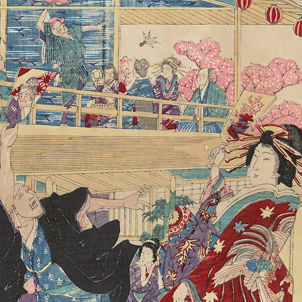 Courtesan in the Yoshiwara at New Year's by Meiji era artist (not read)