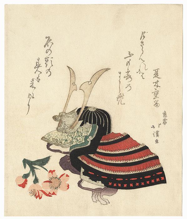 Helmet Surimono by Hokkei (1780 - 1850)