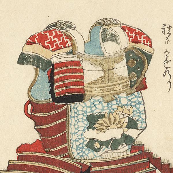 Tachibana Armor with Chrysanthemum-Stream Motif and Sutra Scroll of Universal Gate Chapter Surimono by Hokusai (1760 - 1849)