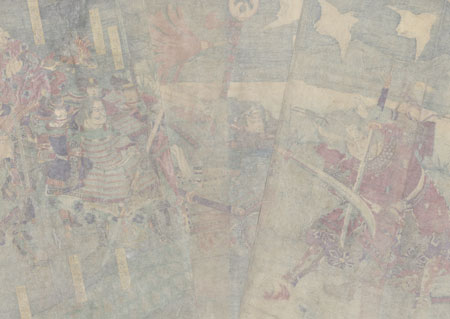 Shima Sakon Tomoyuki Battling Saito Daihachiro Toshitsugu by Yoshitoshi (1839 - 1892)