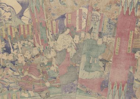 Hideyoshi Advances Prince Samboshi during a Ceremony at Daitoku-ji  by Yoshitoshi (1839 - 1892)