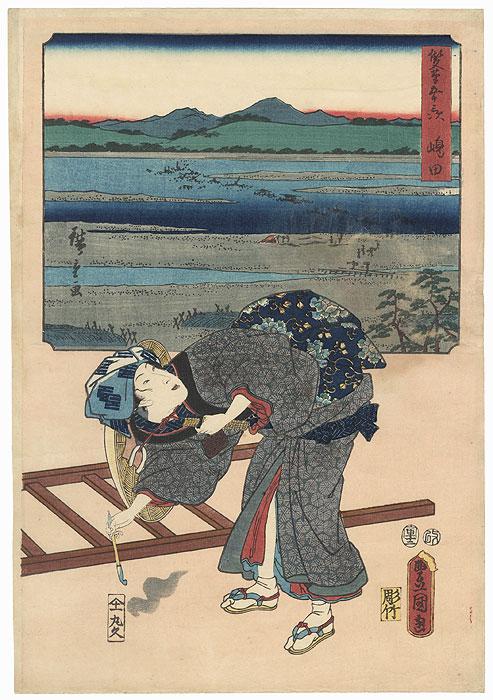 Shimada: Woman Traveler at the Oi River, 1854 by Hiroshige (1797 - 1858) and Toyokuni III/Kunisada (1786 - 1864)