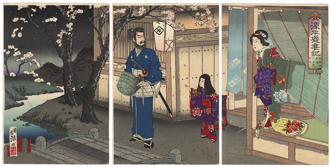 Scene from the Genpei Seisuiki, 1885 by Meiji era artist (not read)