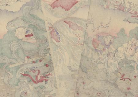 Bishamonten Hunting Tigers, 1889 by Kyosai (1831 - 1889)