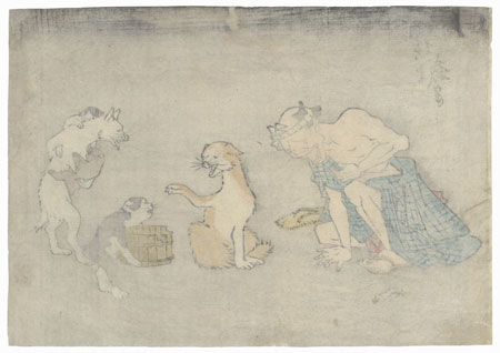 Sick Man and Dogs by Hiroshige (1797 - 1858)